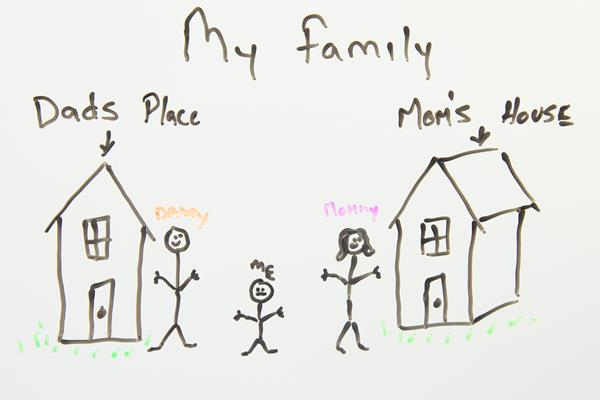 Child's drawing of Mom's house and Dad's house signifying a divorced family.