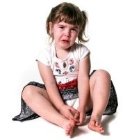Crying girl on floor doesn't want to go