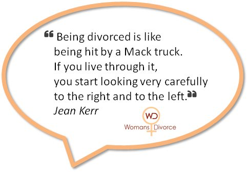 quote by Jean Kerr comparing divorce to being hit by a Mack truck