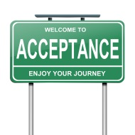 Street sign which reads welcome to acceptance - enjoy your journey