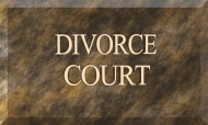 Marble sign designating the divorce court