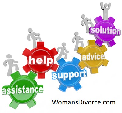 Concept of divorce support group offering advice, help, and support
