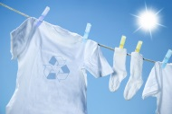Ecofriendly t-shirt on clothesline, photo by Sandralise