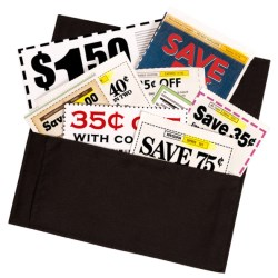 clipped coupons in an organizer