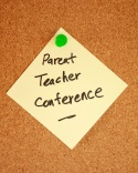 Sticky note about parent/teacher conference