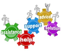 Concept of group support offering advice, help, and support