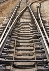 Railroad tracks splitting and going different ways