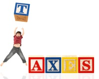 Blocks representing taxes and children