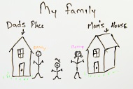 Child's drawing of Mom's house and Dad's house
