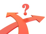 Crossing arrows with a question mark in the middle