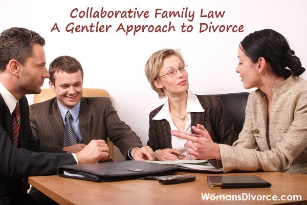 Four people negotiating to reach a settlement using the collaborative divorce approach.