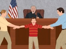 Image of parents fighting for custody in a courtroom