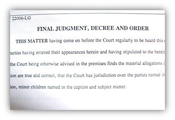 Final divorce judgement, decree and order
