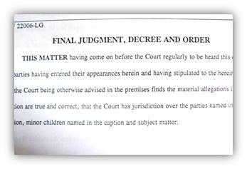 Final divorce judgement, decree and order