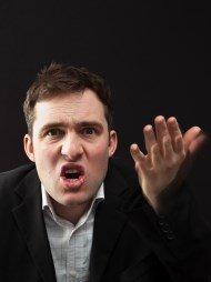 Indignant man denying any wrongdoing