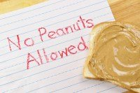 No peanuts allowed note to prevent food allergies