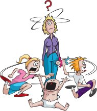 Questioning cartoon mom surrounded by misbehaving children