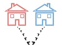 Concept of shared custody, footprints split between two houses