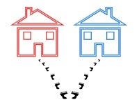 Concept of shared custody, footprints split between two houses
