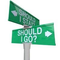 Should I stay or should I go street sign