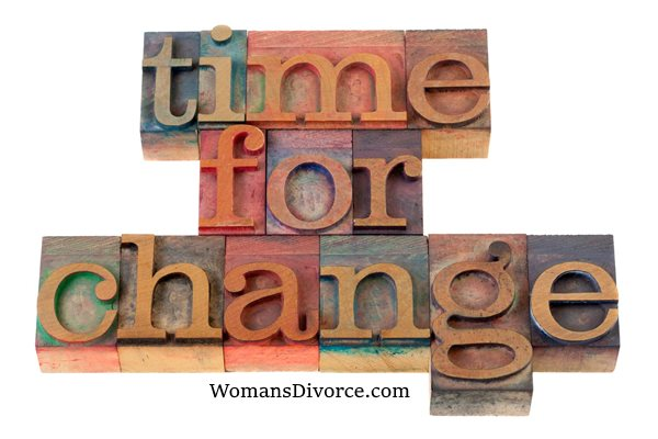 Time for change spelled out with letterpress blocks
