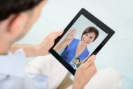 Man video chatting with girlfriend