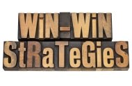Win-Win Strategies sign depicting successful negotiation